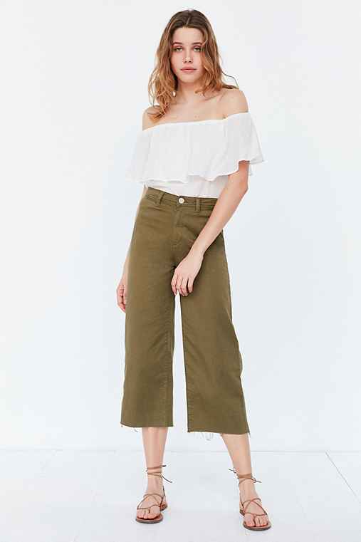 BDG Britt Cropped Culotte Pant,OLIVE,0