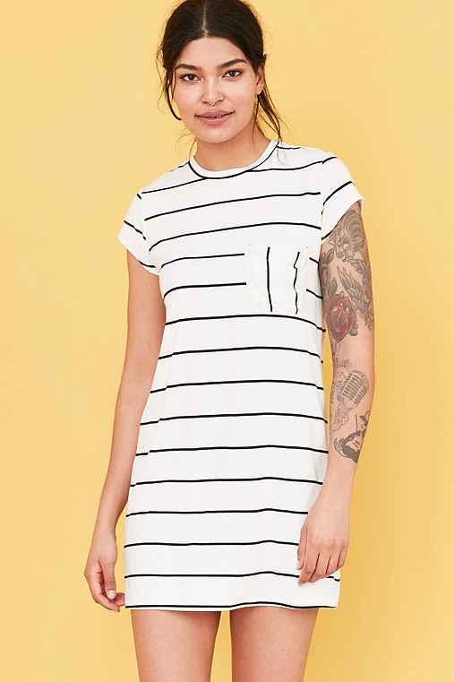 Cooperative Striped Pocket Tee Dress,BLACK & WHITE,L