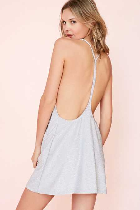 Motel Finn Sparkle Knit Open-Back Slip Mini Dress