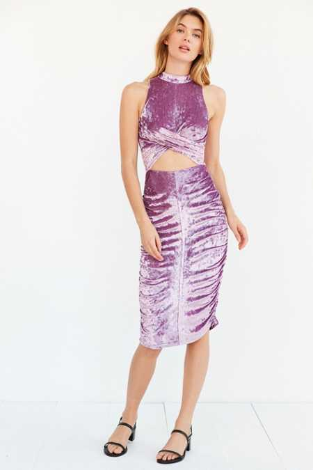 Rare London Crushed Velvet Bodycon Cutout Midi Dress