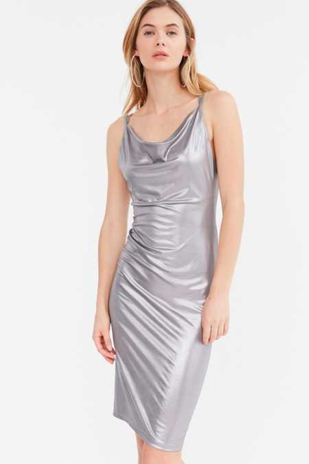 Rare London Metallic Cowl Neck Midi Dress
