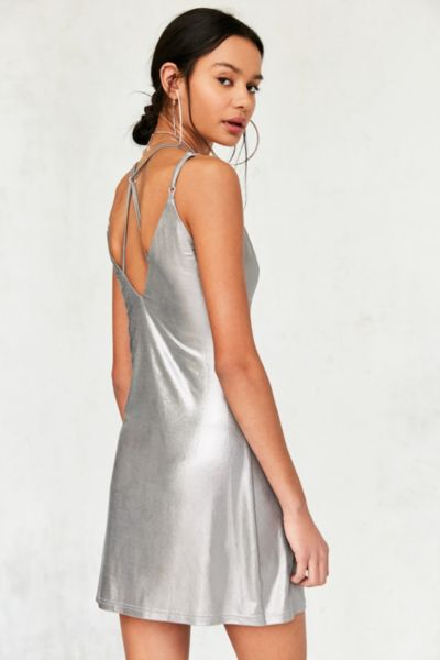 Rare London Metallic Strappy Slip Dress