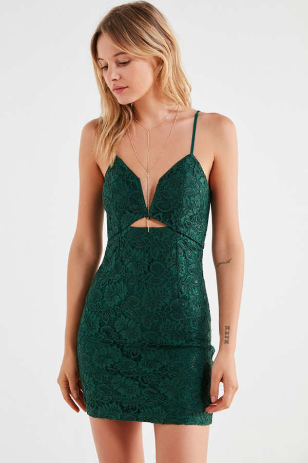 Line & Dot Lace Bodycon Mini Dress | Urban Outfitters