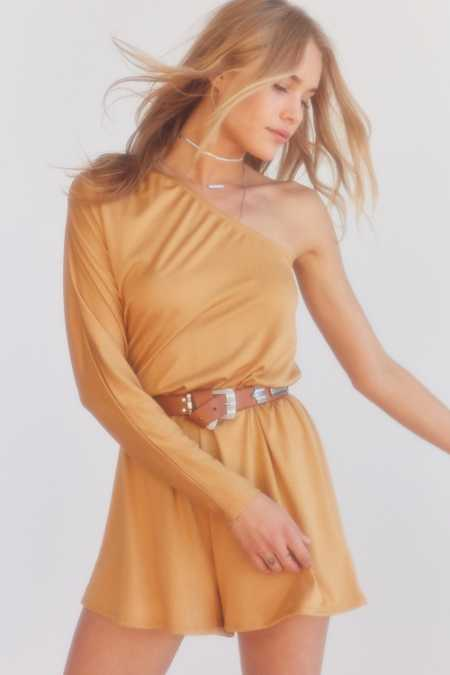 Silence + Noise One-Shoulder Long Sleeve Romper