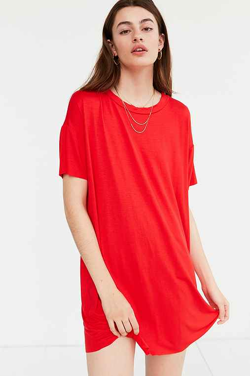 Silence + Noise Boxy Tee Dress,RED,L