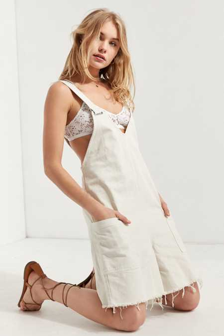 BDG Relaxed-Fit Frayed Hem Coverall Romper
