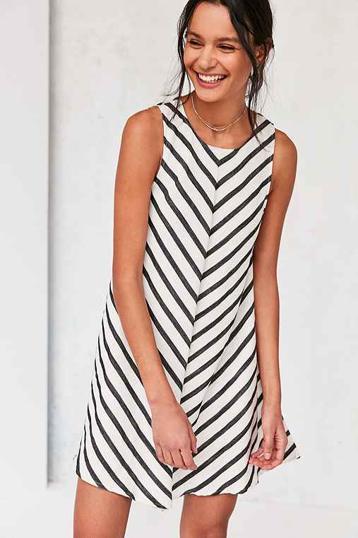 Cooperative Mitered Striped Swing Dress,BLACK & WHITE,L
