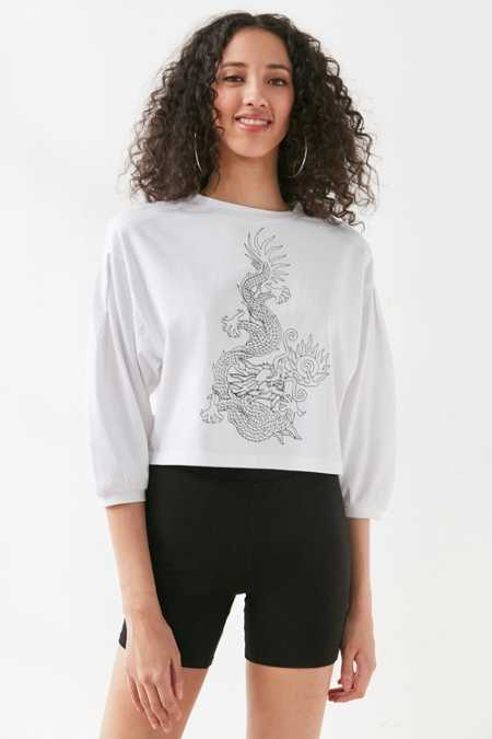 Silence + Noise Tattoo Dragon Long-Sleeve Top