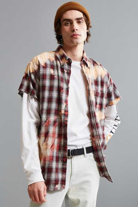 Vintage Bleached Cap Sleeve Flannel Button-Down Shirt