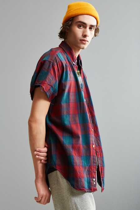 Vintage Cap Sleeve Flannel Button-Down Shirt