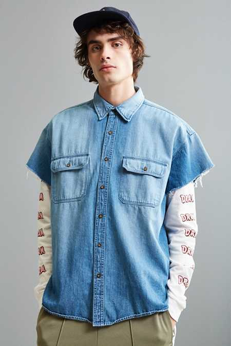 Vintage Denim Cap Sleeve Button-Down Shirt