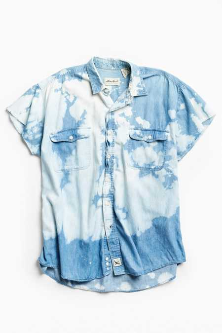 Vintage Bleached Denim Cap Sleeve Button-Down Shirt