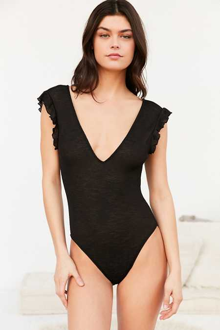 Out From Under Deep V-Neck Ruffle Bodysuit