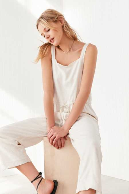 Silence + Noise Square Neck Linen Jumpsuit