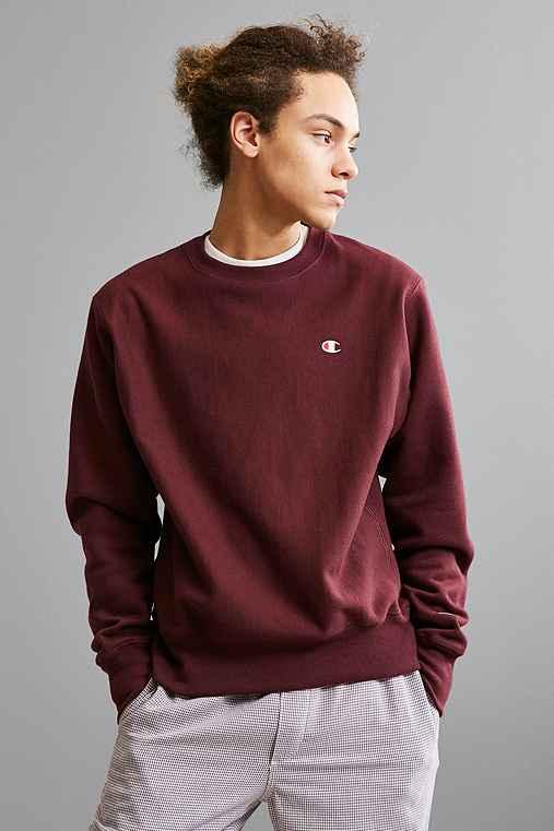 Champion Reverse Weave Fleece Crew Neck Sweatshirt,MAROON,XL