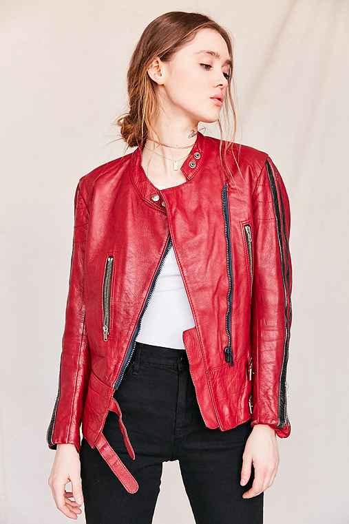 Vintage Leather Moto Jacket,ASSORTED,ONE SIZE