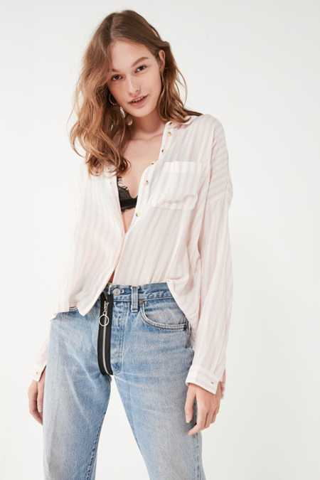 BDG Twill Striped Button-Down Shirt