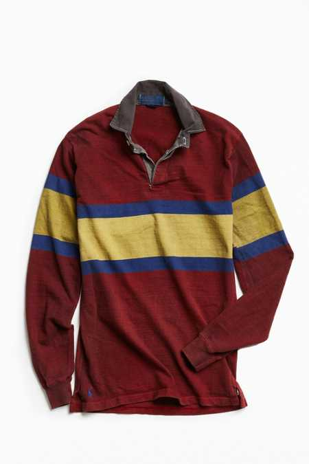 Vintage Polo By Ralph Lauren Overdyed Chest Stripe Rugby Shirt