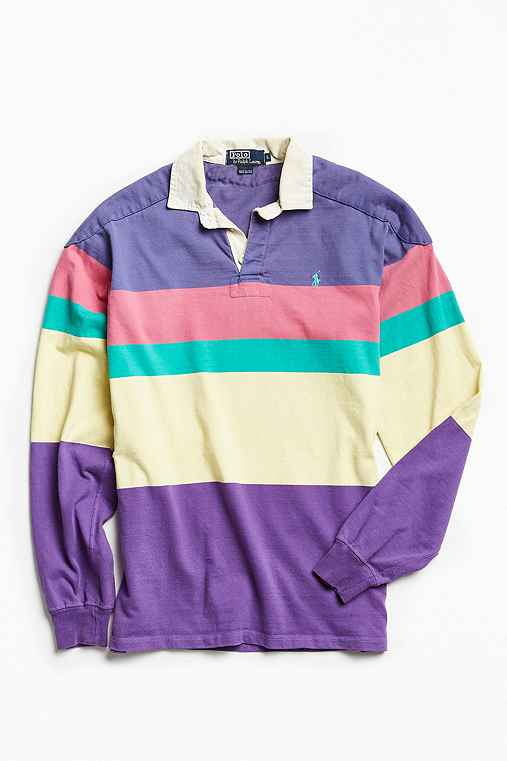 Vintage Polo By Ralph Lauren Colorblocked Rugby Shirt,PINK,L