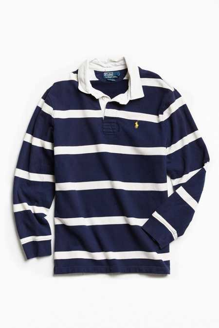 Vintage Polo By Ralph Lauren Striped Fleece Rugby Shirt