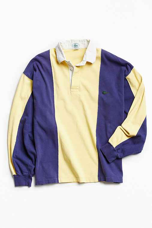 Vintage Lacoste Colorblocked Rugby Shirt,YELLOW,L