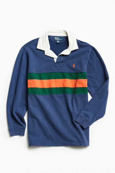Vintage Polo By Ralph Lauren Chest Stripe Fleece Rugby Shirt