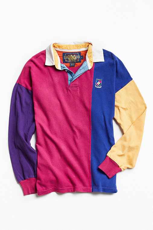 Vintage Chaps Colorblocked Rugby Shirt,PINK,L