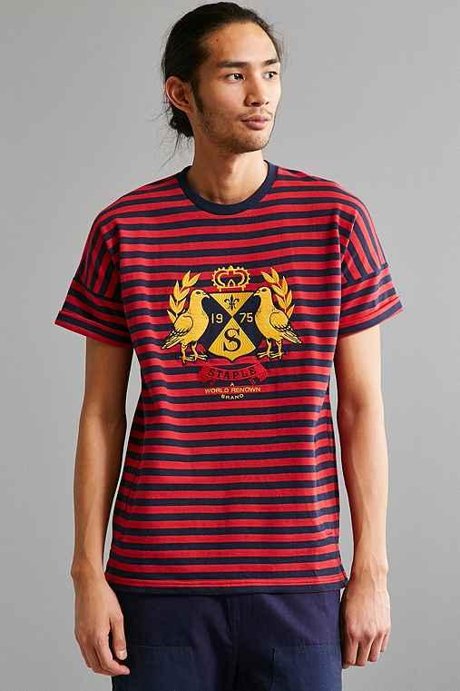 Staple Stripe Fleece Crew Neck Sweatshirt,RED,L