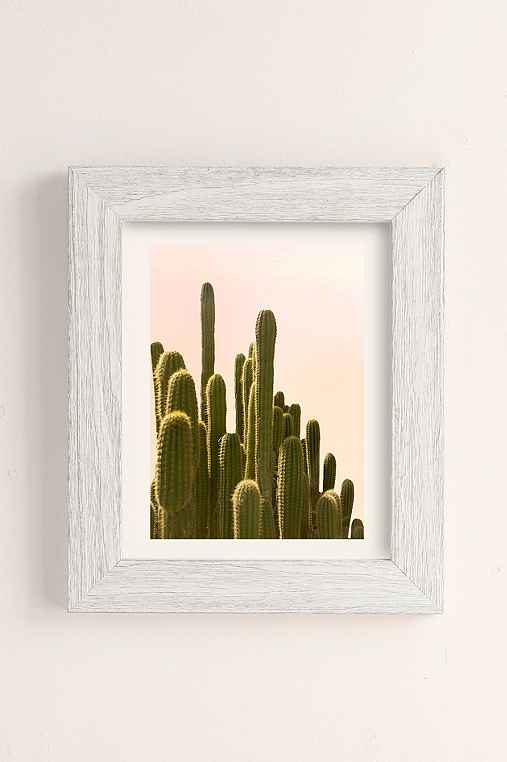 Wilder California Golden Hour Cactus Art Print,WHITE BARNWOOD,13X19