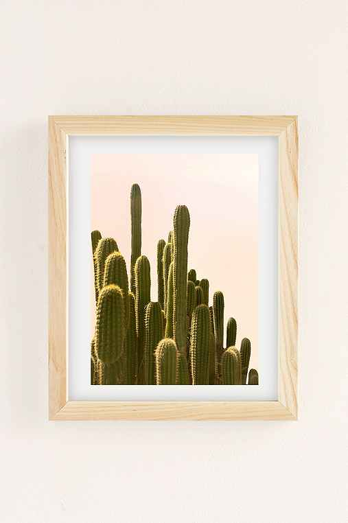 Wilder California Golden Hour Cactus Art Print,NATURAL WOOD,18X24