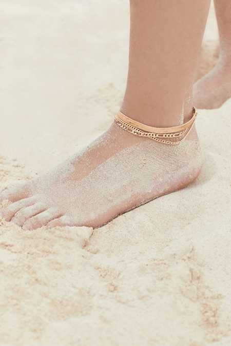 Gold Chain Anklet Set
