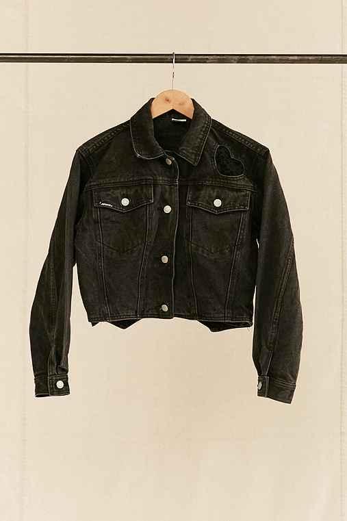 Vintage Jordache Lace Hearts Cropped Denim Jacket,ASSORTED,ONE SIZE