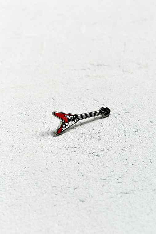 UO Flying V Guitar Pin,RED,ONE SIZE