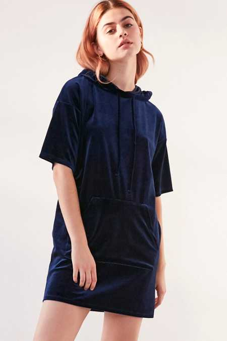 Silence + Noise Velvet Hoodie T-Shirt Dress