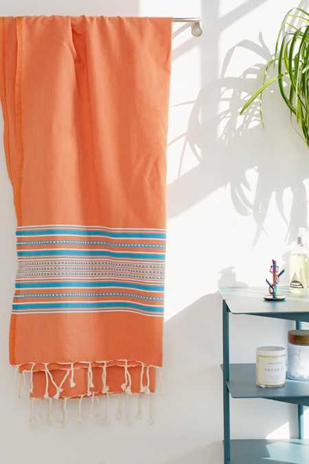 Bondi Peach Striped Fouta Towel
