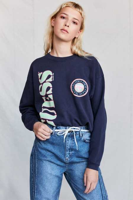 Vintage GUESS 1989 Navy Blue Crew Neck Sweatshirt