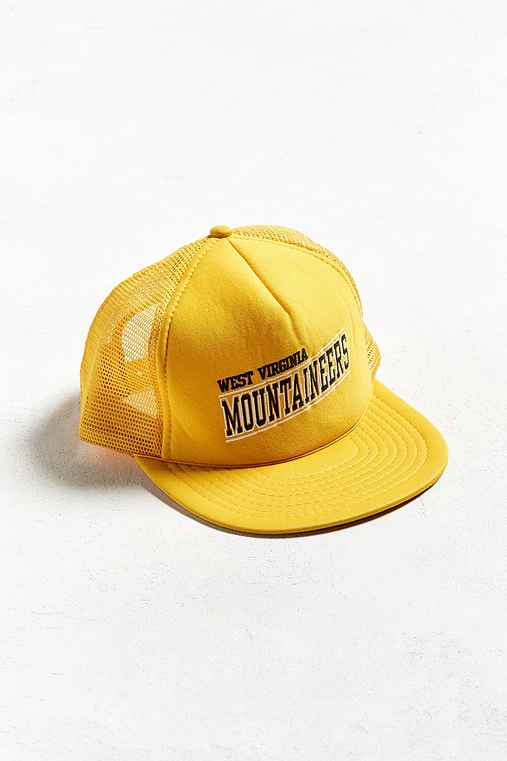 Vintage West Virginia Mountaineers Trucker Hat,YELLOW,ONE SIZE