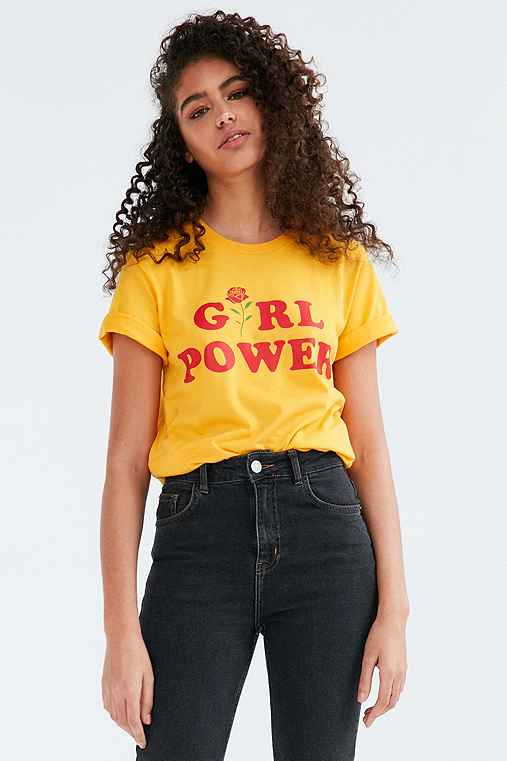 The Style Club Girl Power Tee,GOLD,XL