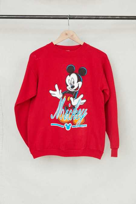 Vintage Red Mickey Mouse Crew Neck Sweatshirt