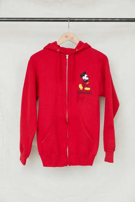 Vintage Red Mickey Mouse Zip Hoodie Sweatshirt