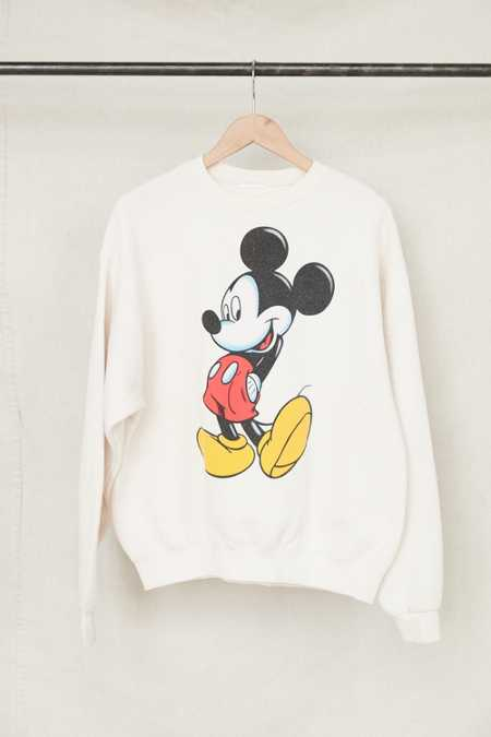 Vintage Cream Mickey Mouse Crew Neck Sweatshirt