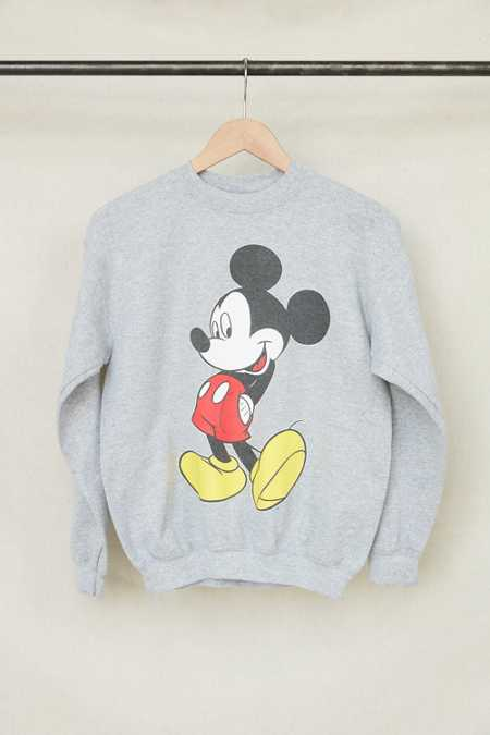 Vintage Grey Mickey Mouse Crew Neck Sweatshirt
