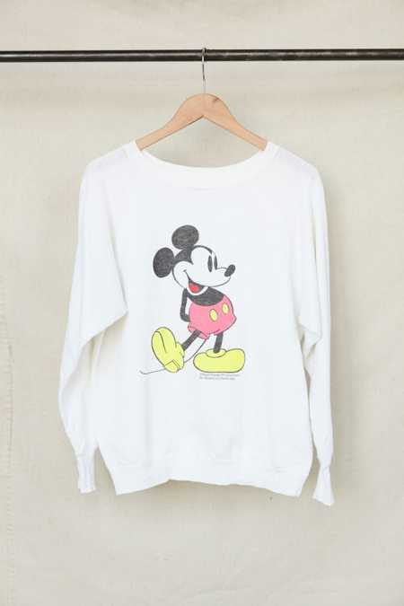 Vintage Neon Mickey Mouse Crew Neck Sweatshirt