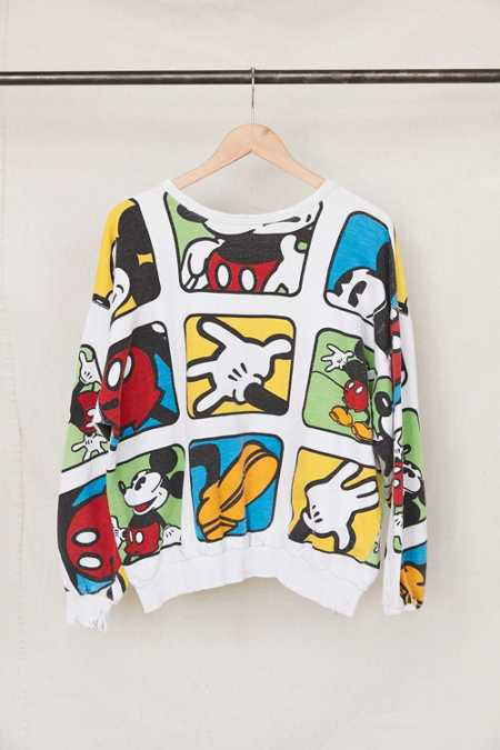 Vintage Mickey Mouse Comic Cubes Crew Neck Sweatshirt