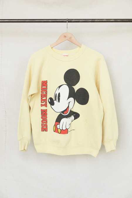 Vintage Yellow Mickey Mouse Crew Neck Sweatshirt