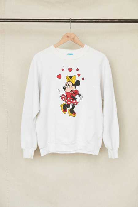 Vintage Minnie Mouse Hearts Crew Neck Sweatshirt