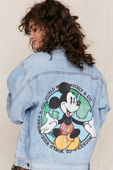 Vintage Mickey Mouse Printed Denim Jacket
