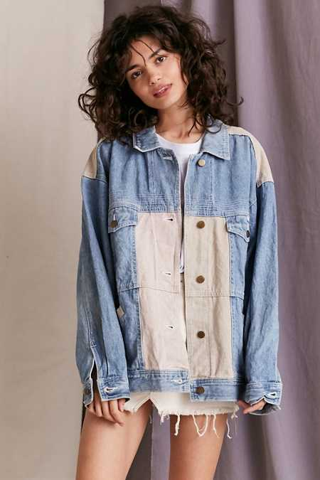 Vintage '90s Pastel Colorblock Denim Jacket