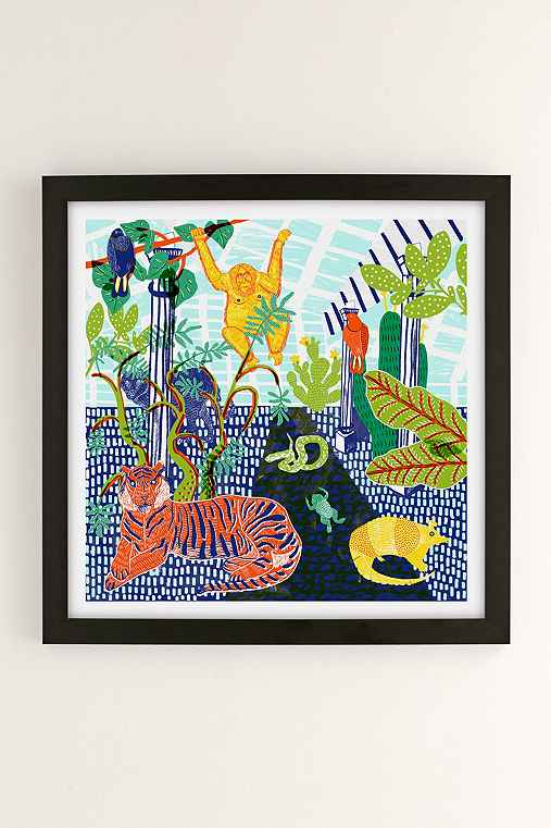 Camilla Perkins Jungle Art Print,BLACK MATTE,44X44