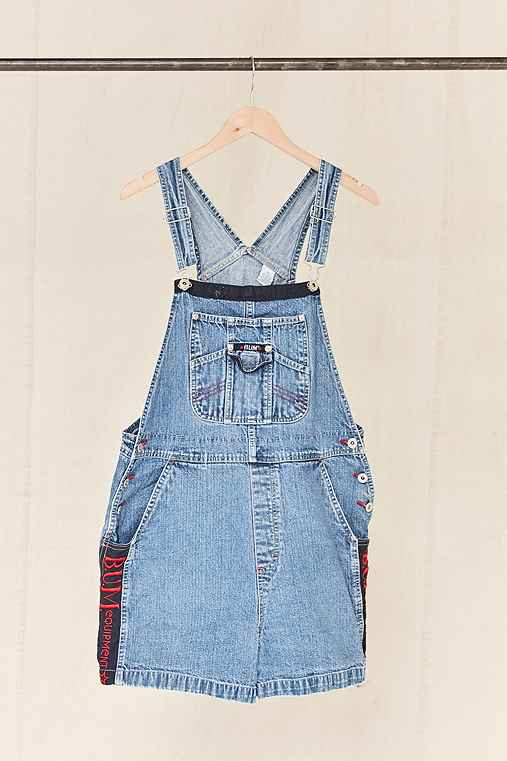 Vintage B.U.M. Equipment Embroidered Denim Overall Short,ASSORTED,ONE SIZE